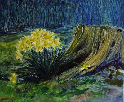 Garden Fruits - Daffodils And Tree Stump by Lizzy Forrester