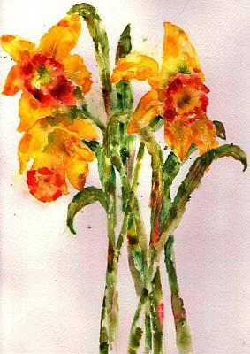 Daffodils Painting - Daffodils by Anne Duke