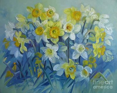 Painting - Daffodils Dance by Elena Oleniuc