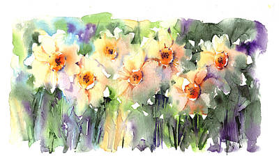 Daffodils Painting - Daffodil's Dancing by Andrew Geeson