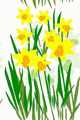 Digital Art - Daffodils Drawing by Barbara Moignard