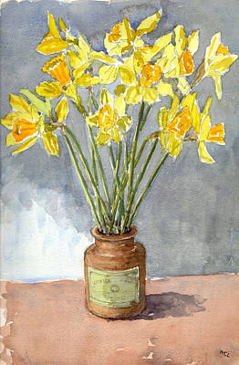 Daffodils In A Pot. Art Print by Mike Lester