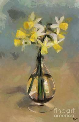Keith Richards - Daffodils in Glass Vase by Dragica Micki Fortuna