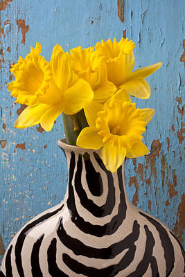 Narcissus Photograph - Daffodils In Wide Striped Vase by Garry Gay