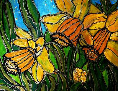 Art Print featuring the painting Daffodils by Laura  Grisham
