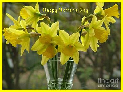 Photograph - Daffodils Mother's Day Greeting by Joan-Violet Stretch