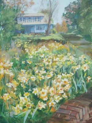 Daffodils On The Corner Art Print by Carol Strickland