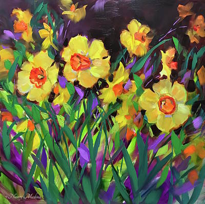Daffodils Painting - Daffodils On Violet by Nancy Medina