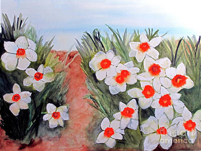 Art Print featuring the painting Daffodils by Sandy McIntire