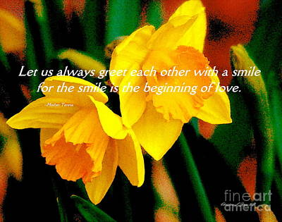 Photograph - Daffodils With Love Quotation By Mother Teresa - Paintograph by Christine S Zipps