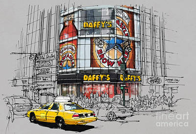 Beer Royalty-Free and Rights-Managed Images - Daffys New York City Yellow Cab original sketch by Drawspots Illustrations