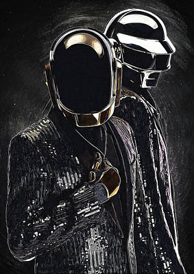 Daft Punk Digital Art - Daft Punk by Semih Yurdabak