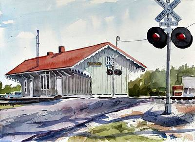 Train Crossing Painting - Dahlgren Depot by Spencer Meagher