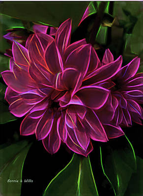 Digital Art - Dahlia Aglow by Bonnie Willis