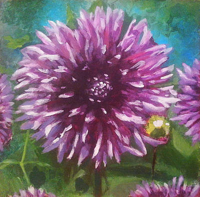 Purple Flowers Painting - Dahlia by Angelina Sofronova