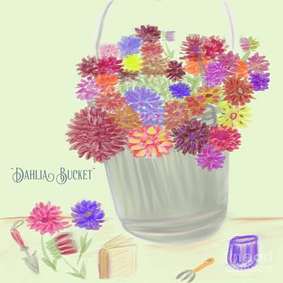 Drawing - Dahlia Bucket Illustration by Susan Garren