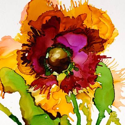 Alcohol Ink Wall Art - Painting - Dahlia Daze by Marla Beyer