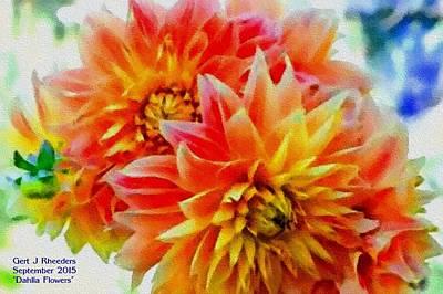 The Blue Dahlia Painting - Dahlia Flowers H A by Gert J Rheeders