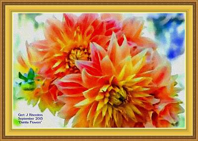 The Blue Dahlia Painting - Dahlia Flowers H A With Decorative Ornate Printed Frame. by Gert J Rheeders