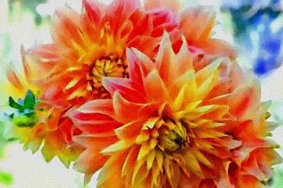 The Blue Dahlia Painting - Dahlia Flowers H B by Gert J Rheeders