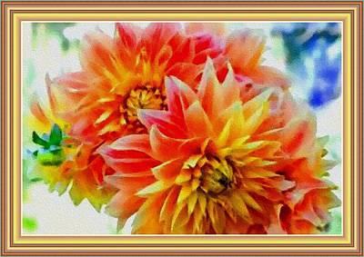 The Blue Dahlia Painting - Dahlia Flowers H B With Decorative Ornate Printed Frame. by Gert J Rheeders