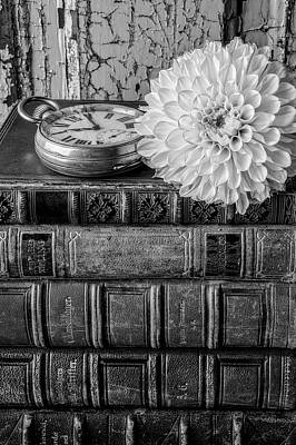 Photograph - Dahlia On Old Books by Garry Gay
