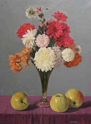 Painting - Dahlias And Golden Delicious Apples by Robert Holden