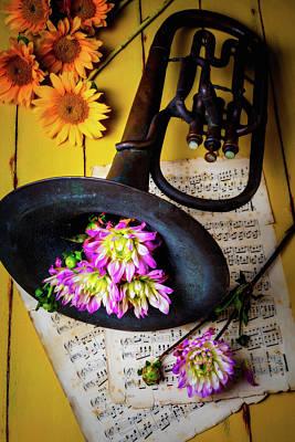Folk Art Photograph - Dahlias And Old Horn by Garry Gay