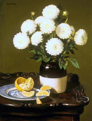 Painting - Dahlias And Oranges Cornered by Robert Holden