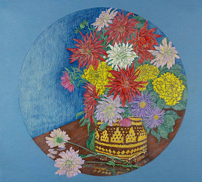 Aster Drawing - Dahlias by Catherine ONeil
