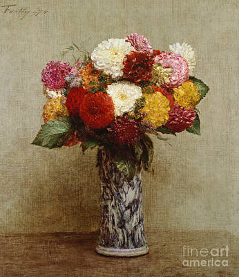 Flora Painting - Dahlias In A Chinese Vase by Ignace Henri Jean Fantin-Latour