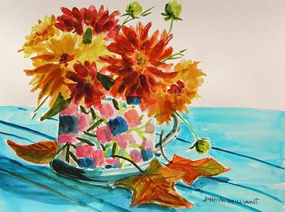 Warm Tones Drawing - Dahlias In A Painted Cup by John Williams