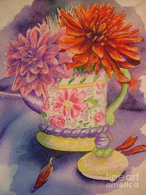 Painting - Dahlias In A Teapot by Terri Thompson