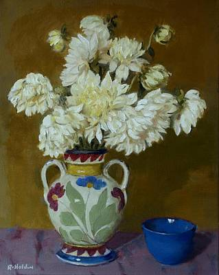 Painting - Dahlias In Decorative Mexican Pottery  Vase by Robert Holden