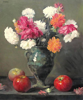 Painting - Dahlias In Green Moroccan Vase And Apples by Robert Holden