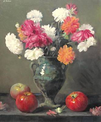 Moroccan Vase Painting - Dahlias In Green Moroccan Vase, Apples by Robert Holden