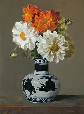 Painting - Dahlias In Japanese Caravan Vase by Dahlias iDahlias in Japanese Caravan Vasen Japanese Caravan VaseRobert Holden