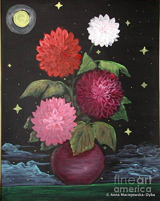 Folkartanna Painting - Dahlias On Earth by Anna Folkartanna Maciejewska-Dyba