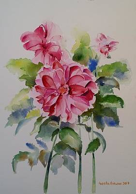 Painting - Dahlias Still Life Flowers by Geeta Biswas