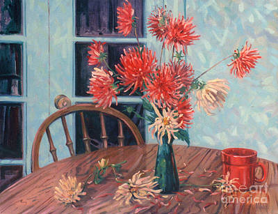 Painting - Dahlias With Red Cup by Donald Maier