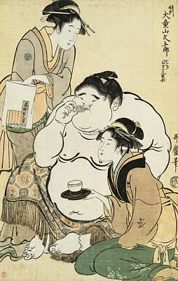 Sake Painting - Daidozan Bungoro, The Infant Prodigy Drinking Sake by Kitagawa Utamaro