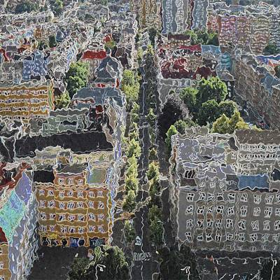 Abstract Skyline Drawings - Daily City by Viktor Lebeda