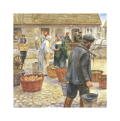 Wall Art - Painting - Daily Life In The Shtetl by Laurie McGaw