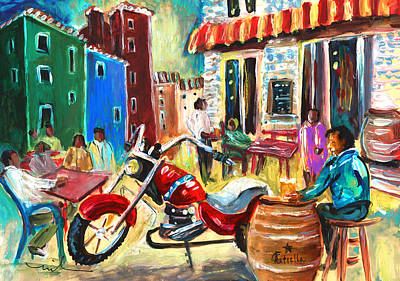 Wine Barrel Painting - Daily Life In Villajoyosa by Miki De Goodaboom