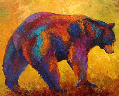 Daily Rounds - Black Bear Print by Marion Rose