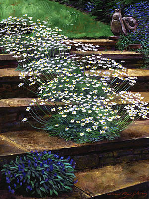 English Garden Painting - Dainty Daisies by David Lloyd Glover