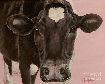Painting - Dairy Cow Princess In Pink by Amy Reges