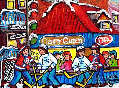 Painting - Dairy Queen Lasalle Ice Cream Parlor Winter Hockey Scene Montreal Canadian Artist Carole Spandau     by Carole Spandau