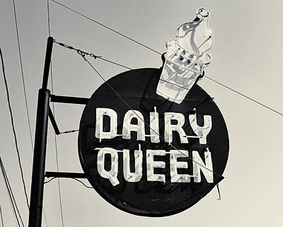 Photograph - Dairy Queen Sign B W 1 by Joseph C Hinson Photography