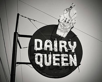 Photograph - Dairy Queen Sign B W 2 by Joseph C Hinson Photography